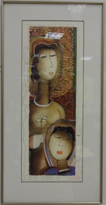 """Long Looi Lee/""""Sisters II""""/Signed & #d Lithograph"""