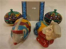 Lot of Pottery Papier Mache and Crystal Items