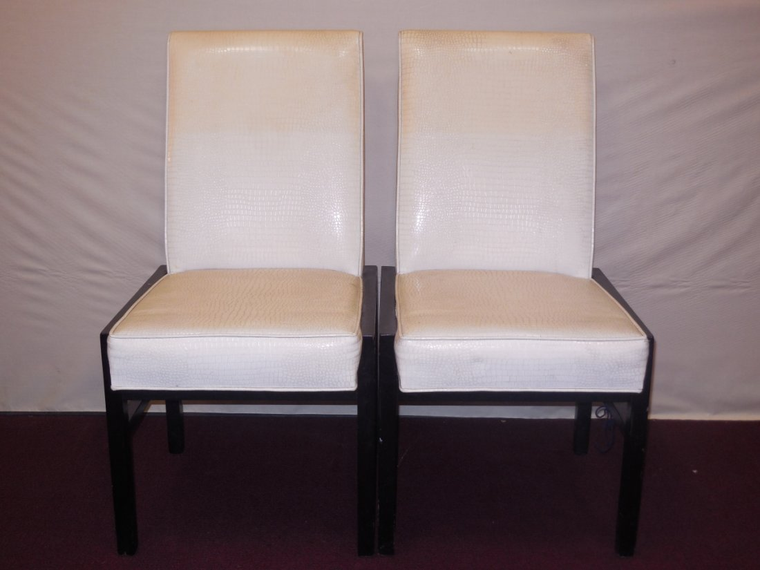 Pair of Mid-Century Faux Alligator Uph. Chairs