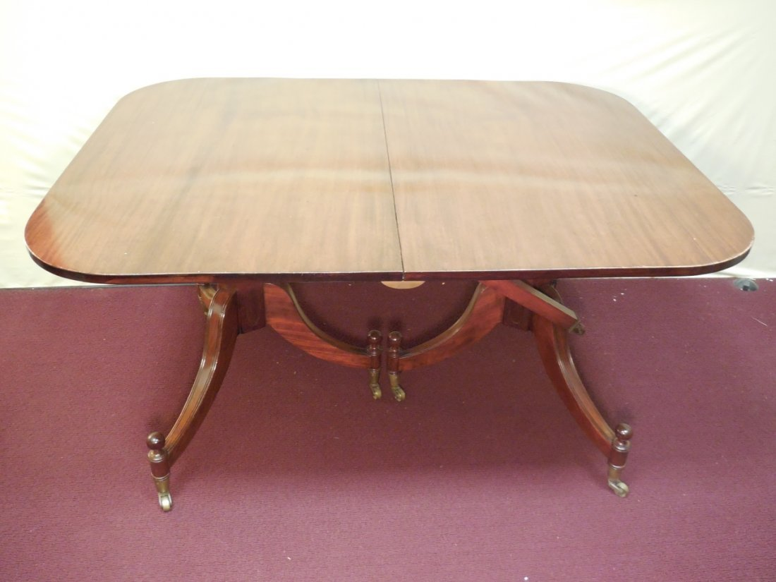 Mahogany Double Pedestal 4 Leaf Dining Table