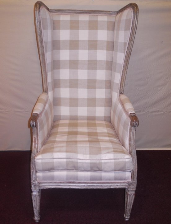 19th C. Swedish Wing Chair w/Plaid Upholstery