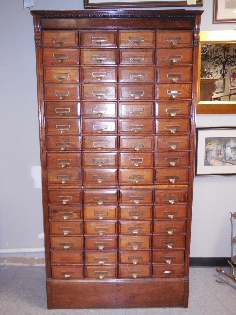 "Antique Walnut 60 Drawer ""Shannon Filing Cabinet"""
