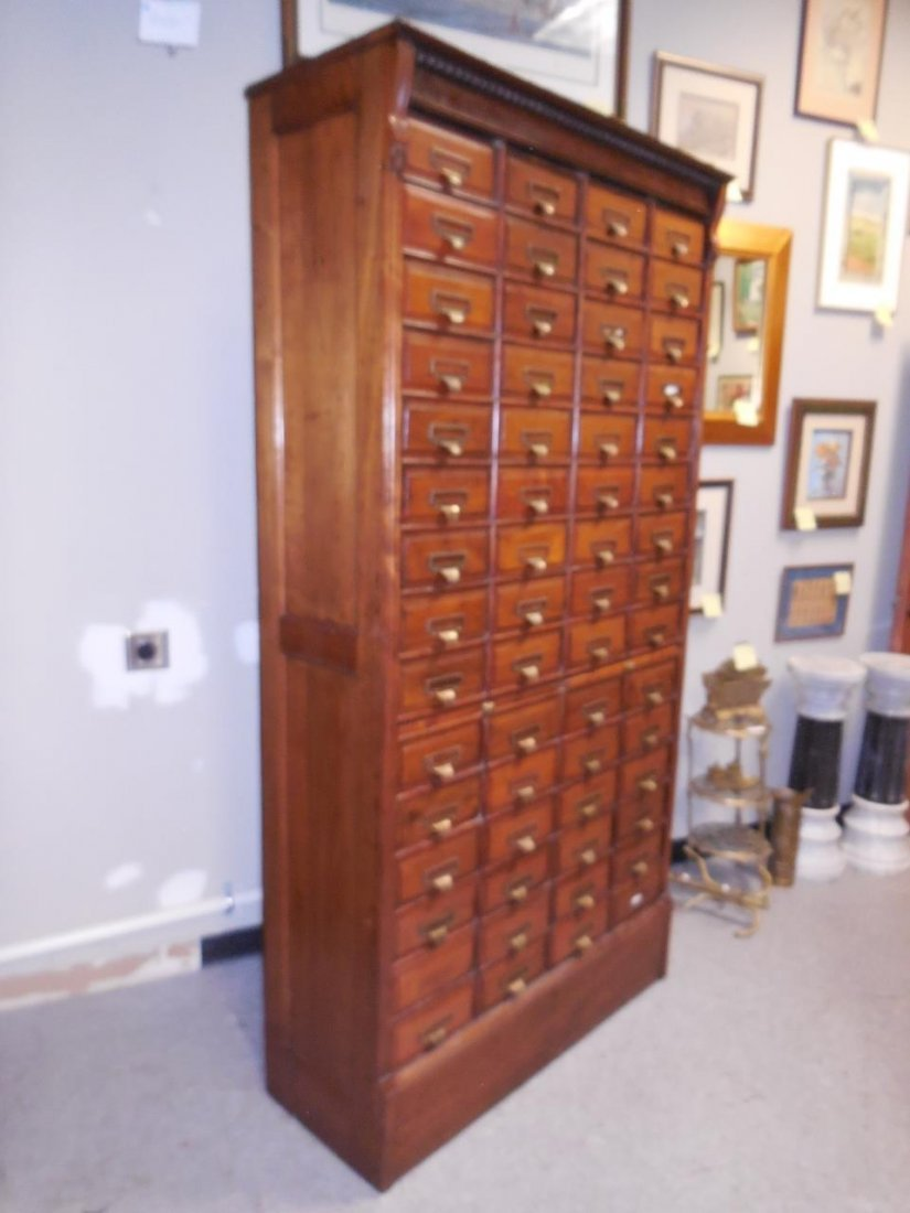 "Antique Walnut 60 Drawer ""Shannon Filing Cabinet"" - 7"