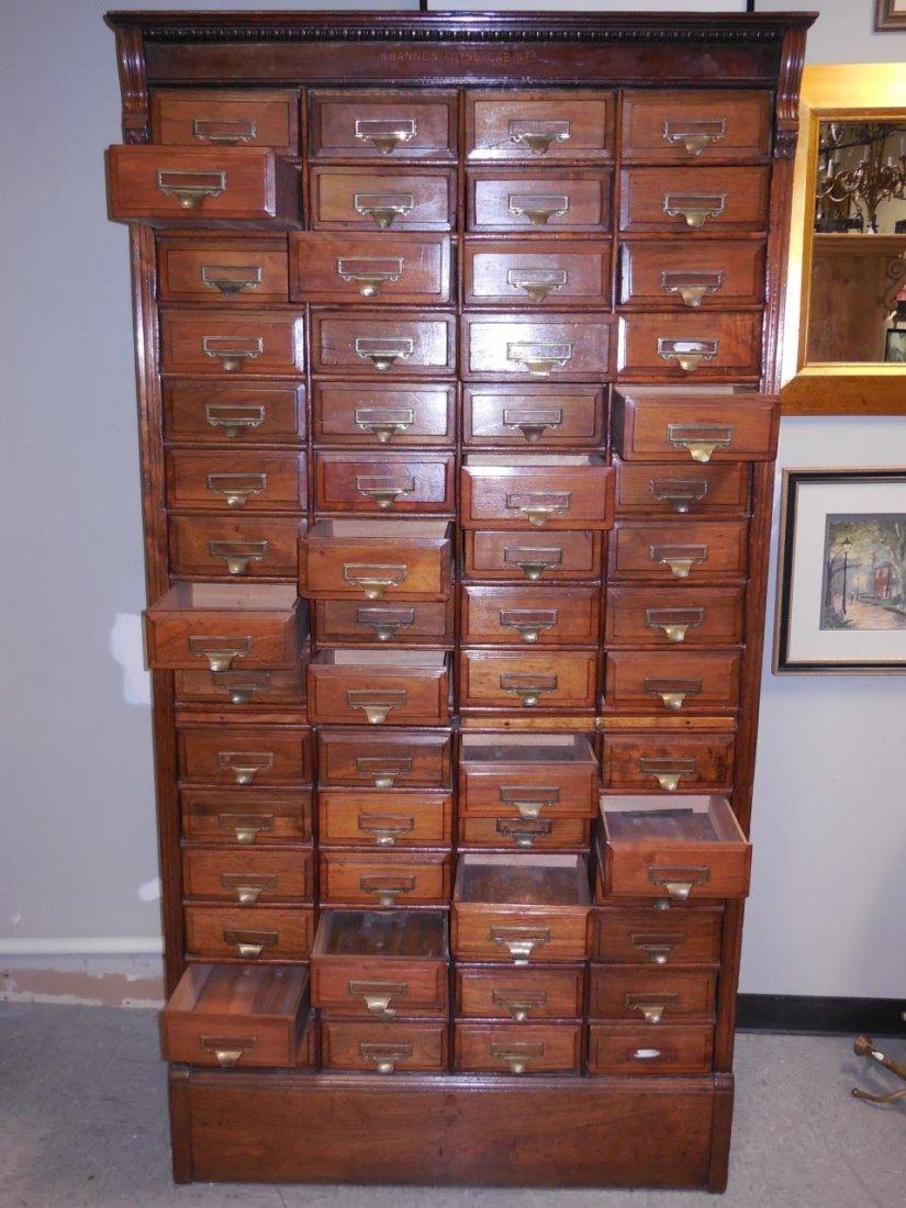 "Antique Walnut 60 Drawer ""Shannon Filing Cabinet"" - 8"