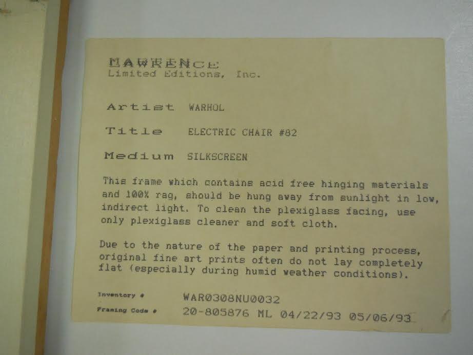 36x48 WARHOL Electric Chair Screenprint Framed - 6