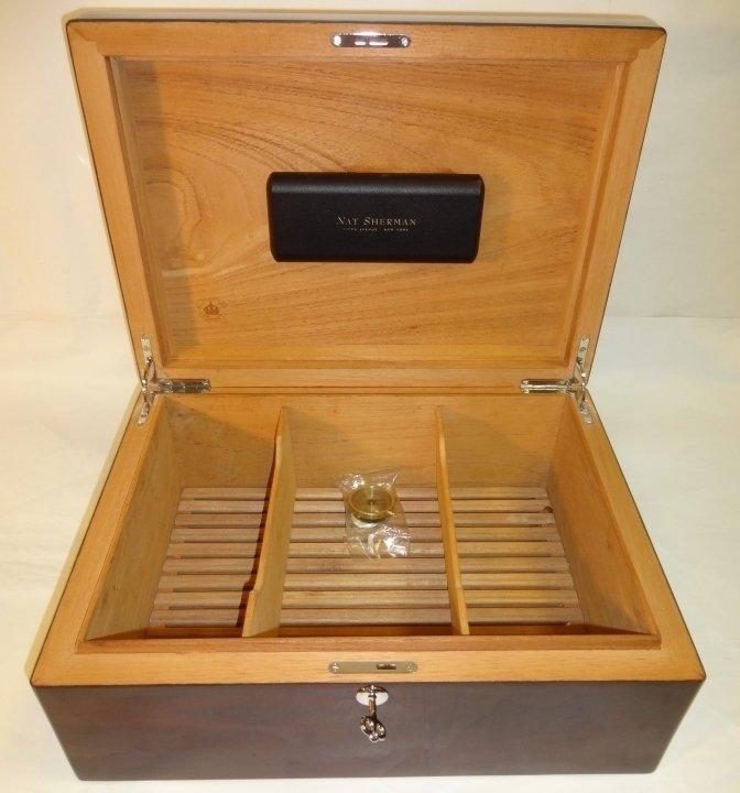 Nat Sherman Mahogany Diamond Crown Humidor - 3