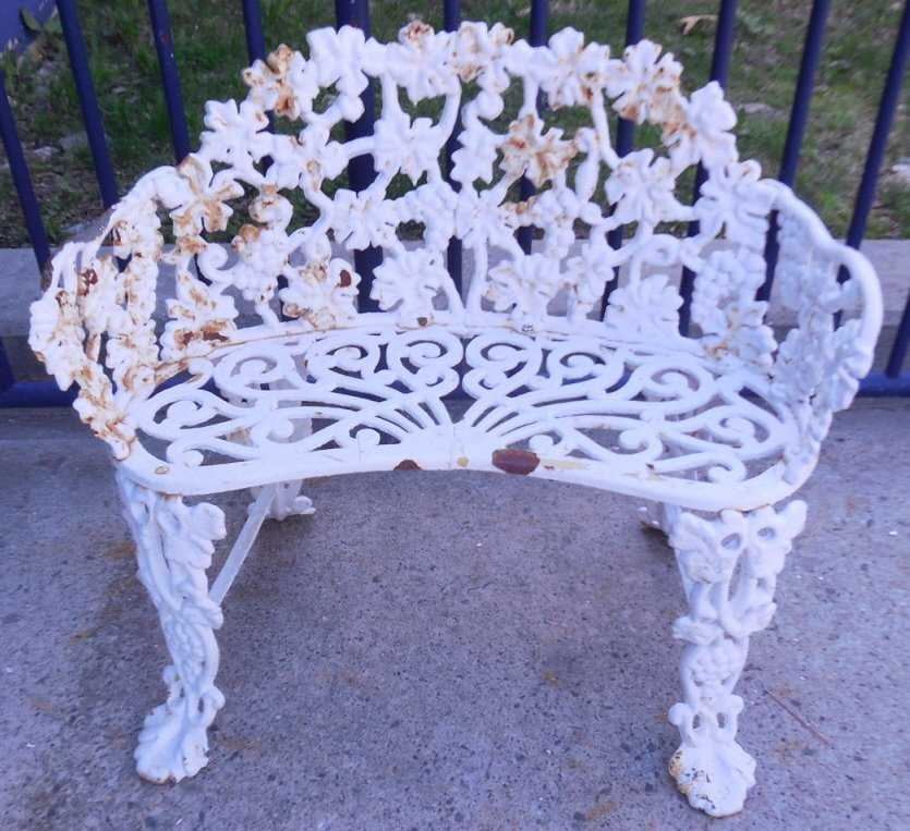 Vintage Wrought Iron Grape Amp Leaf Patio Bench