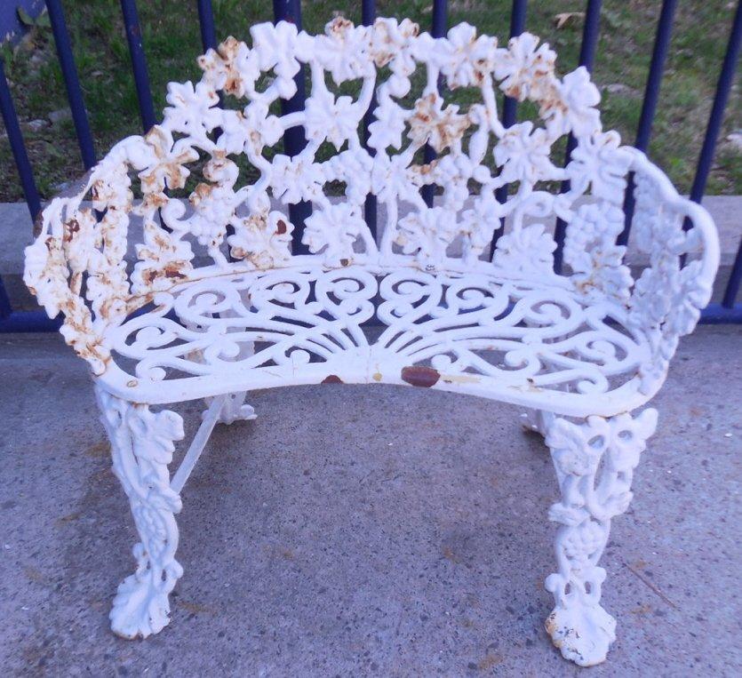 Wrought Iron Grape & Leaf Patio Bench