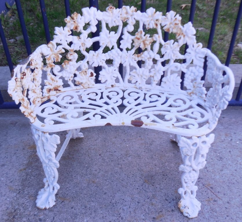 Vintage Wrought Iron Grape U0026 Leaf Patio Bench