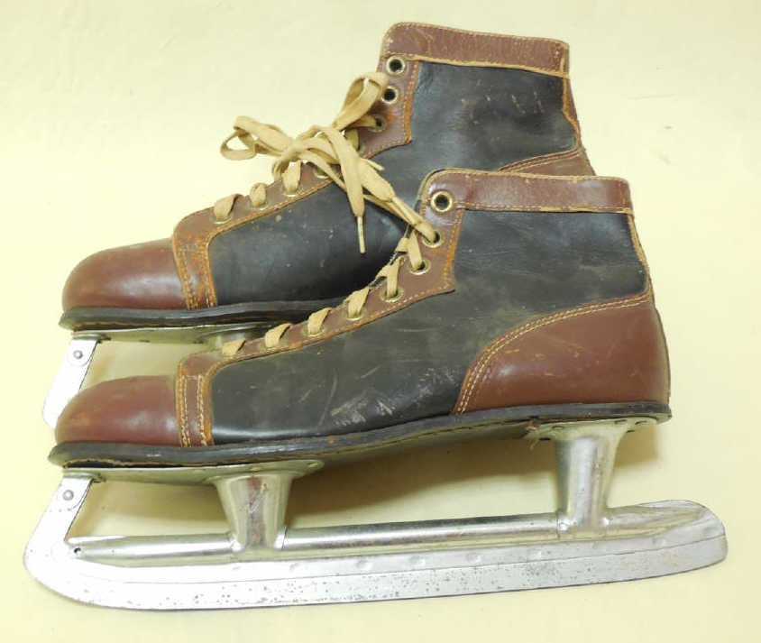 Pair of Vintage Leather Ice Skates