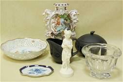 Lot of 7 Asst. Porcelain Items Baccarat, Wedgwood