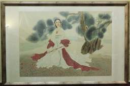 Chinese Watercolor on Silk Portrait of a Lady