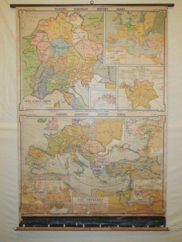 Vintage Denoyer Geppert Pull Down Map of Europe