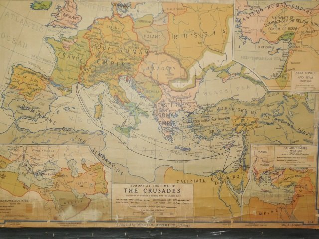 Vintage Denoyer Geppert Pull Down Map of Europe - 3