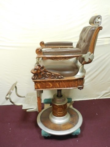 Antique Victorian Barber Chair by Theo A. Kochs