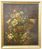19th Century Floral Still Life Oil Painting