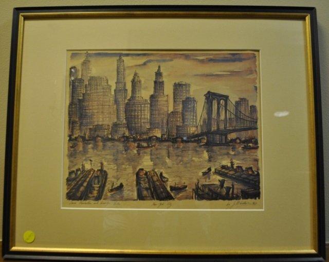 J.M Gallais - Mid Century New York City Print