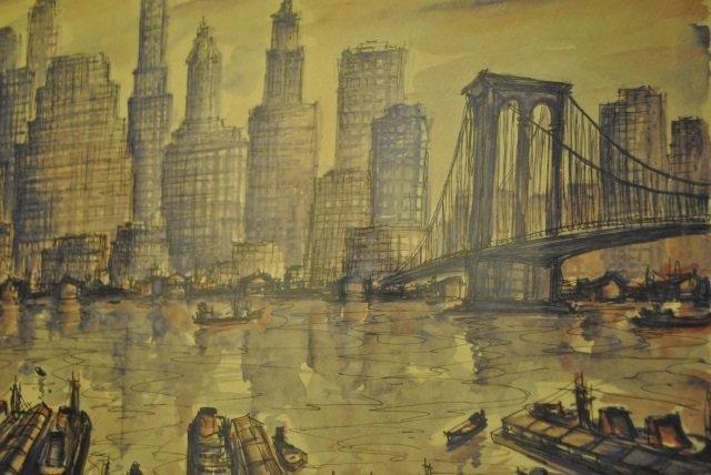 J.M Gallais - Mid Century New York City Print - 2