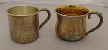 Two Antique Sterling Silver Baby Cups