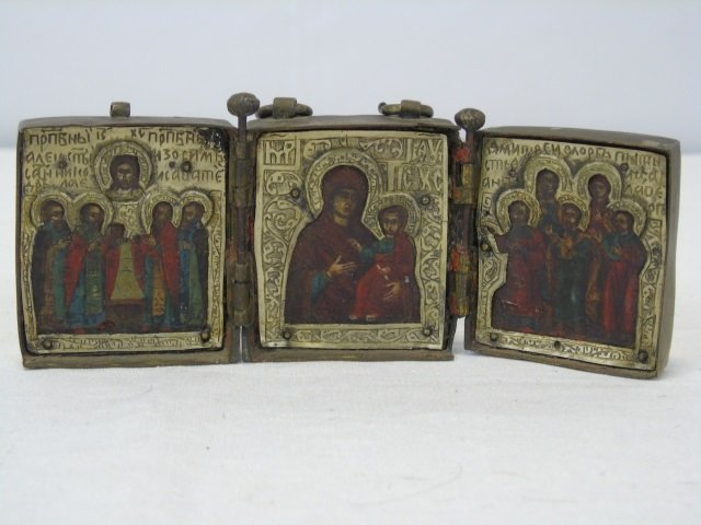 Antique Russian Imperial 18th C. Triptych Icon