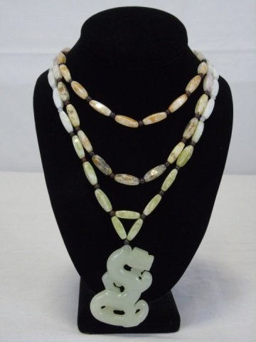 Vintage Carved Jade Chinese Dragon Necklace