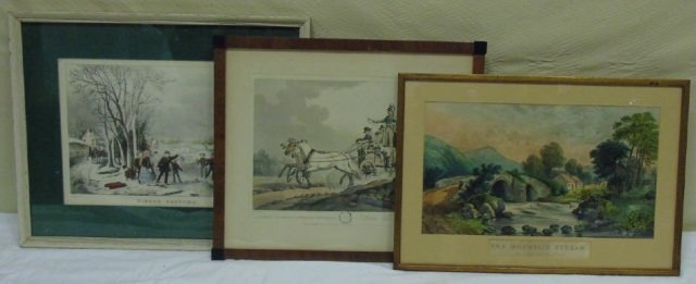 Three Antique Lithographs - Currier & Ives, etc