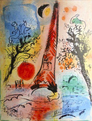 Marc Chagall Lithograph Print Sunrise in Paris
