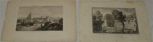 Antique French  Italian Architectural Engravings