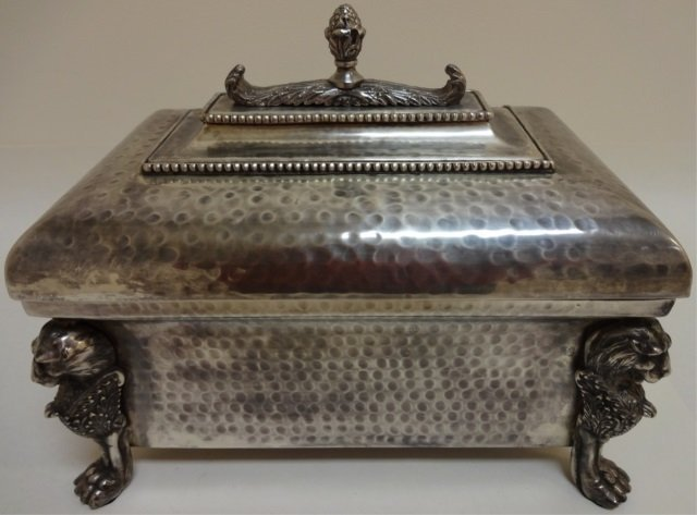 Vintage Large Hammered Silver Plate Table Box