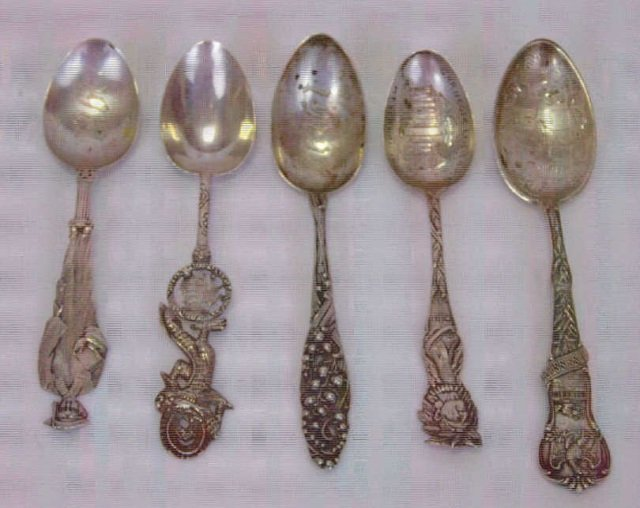 Antique American Chinese Sterling & Silver Spoons