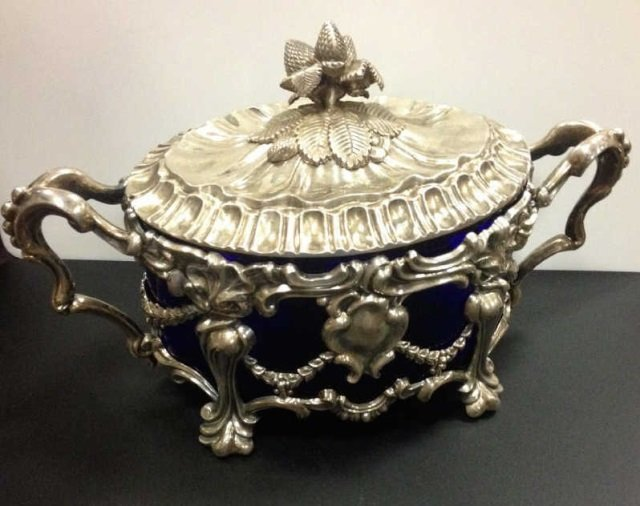 Antique French Silver & Cobalt Glass Candy Box