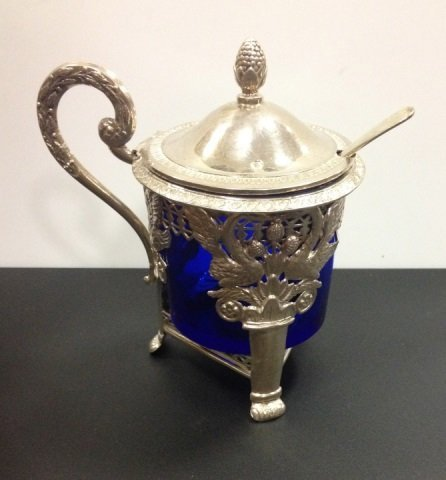 Antique French Silver & Cobalt Glass Condiment Jar