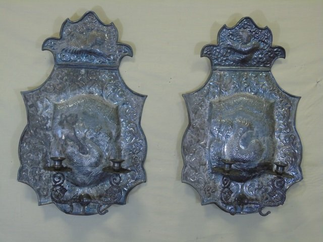 Large Spanish Style Silver Plate Double Sconces