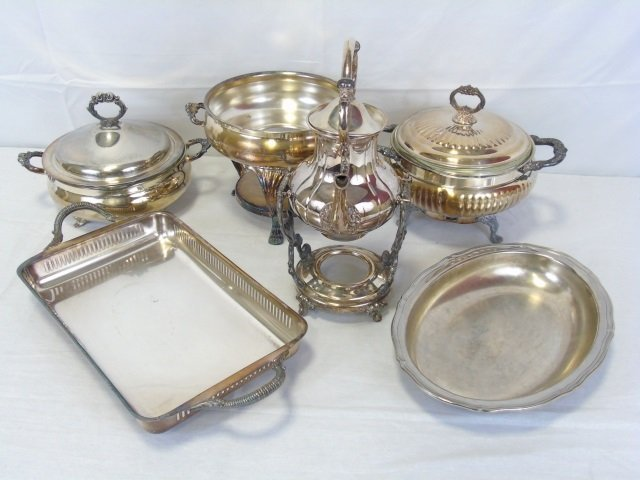 Lot 7 Vintage Sheridan Silver Plate Serving Pieces