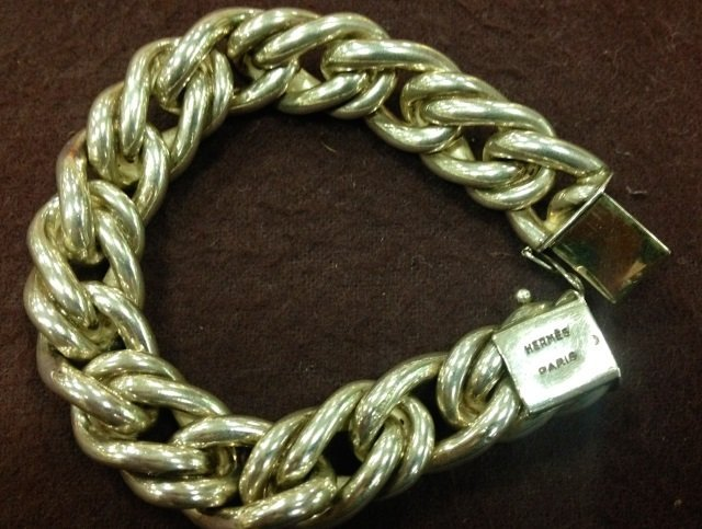 Vintage Hermes Paris Silver Chain Bracelet in Box - 2
