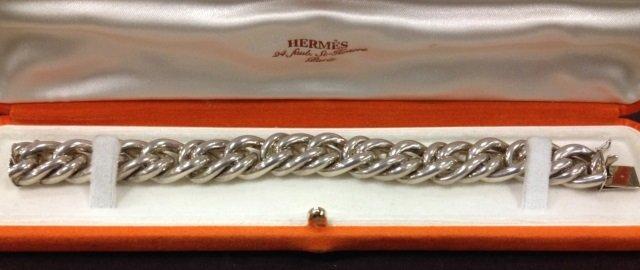 Vintage Hermes Paris Silver Chain Bracelet in Box - 3