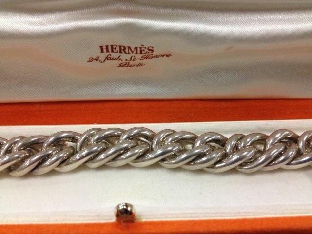 Vintage Hermes Paris Silver Chain Bracelet in Box - 4