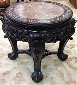 Antique Chinese Hardwood & Marble Pedestal Table