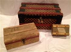 Three Antique German & French Doll Trunks