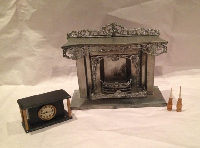 Antique German Dollhouse Fireplace & Treenware