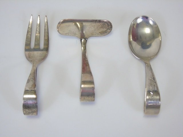 Lot of 3 Sterling Silver Baby Utensils Spoon Fork