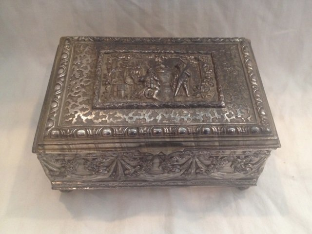 Large Antique French Repousse Silver Table Box