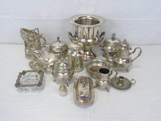 Lot of 14 Vintage Silver Plate Serving Pieces