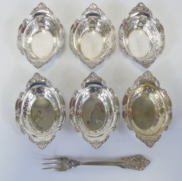Lot 6 Sterling Silver Pierced Nut Candy Bowls