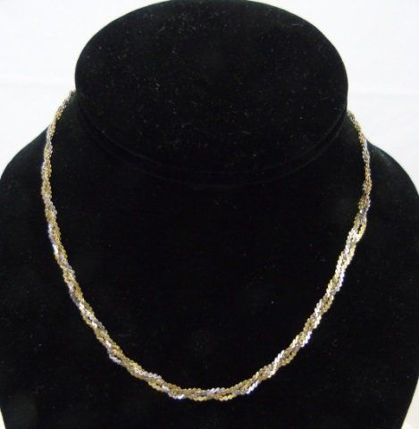 Vintage Italian 14kt White & Yellow Gold Necklace
