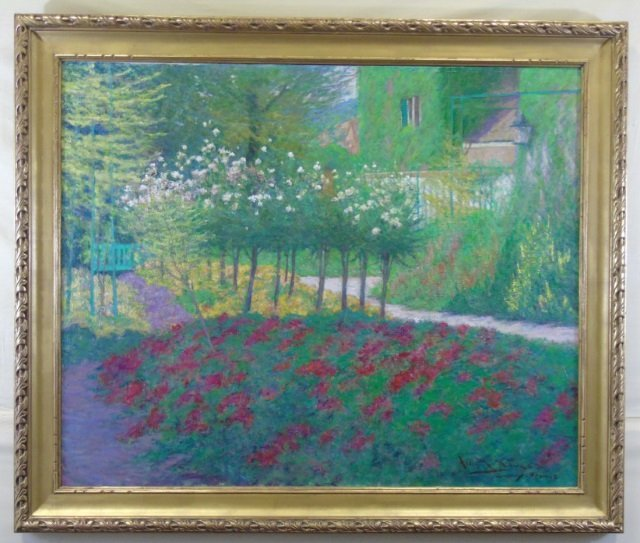 Allan Banks - Oil Painting Rose Trees in Giverny