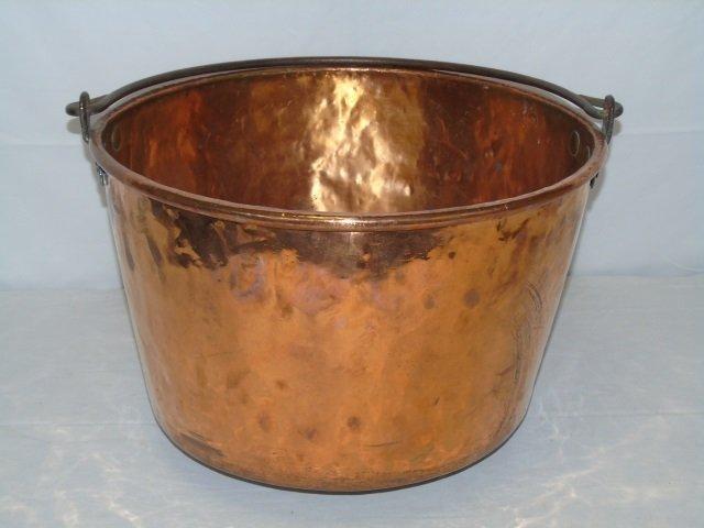 Antique Copper Fireplace Wood Holder Pot Cauldron