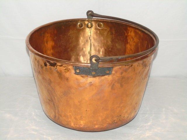 Antique Copper Fireplace Wood Holder Pot Cauldron - 2