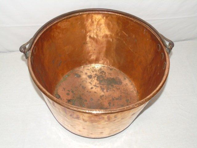 Antique Copper Fireplace Wood Holder Pot Cauldron - 3