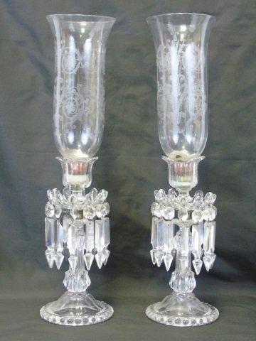 Pair Antique Crystal Prism Hurricane Candle Sticks